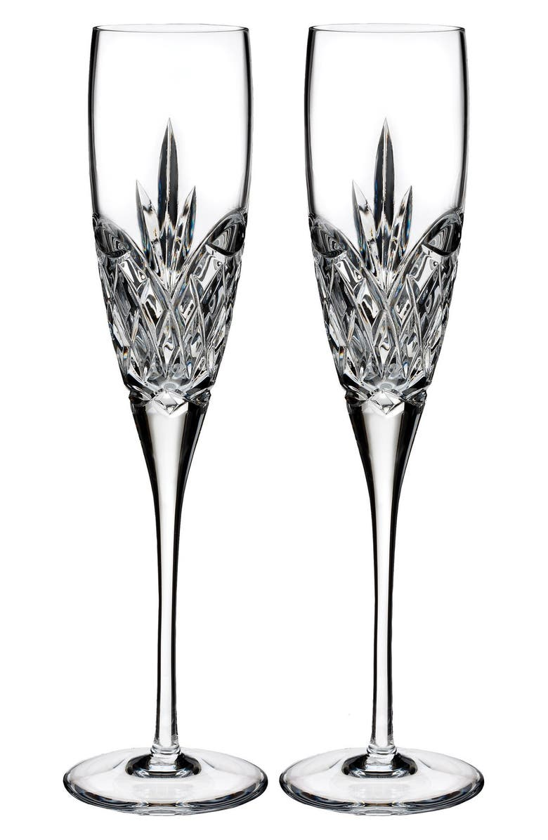 WATERFORD Love Forever Set of 2 Lead Crystal Champagne Flutes, Main, color, CLEAR