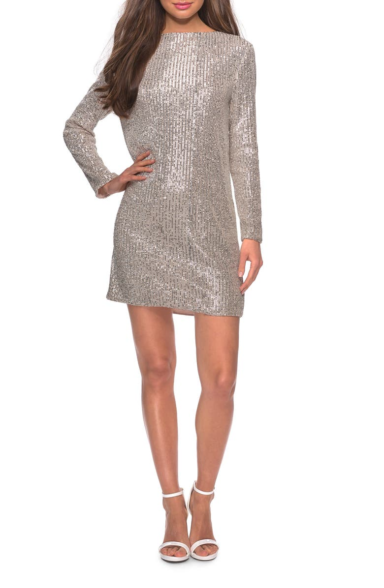 LA FEMME Long Sleeve Sequin Cocktail Dress, Main, color, LIGHT SILVER