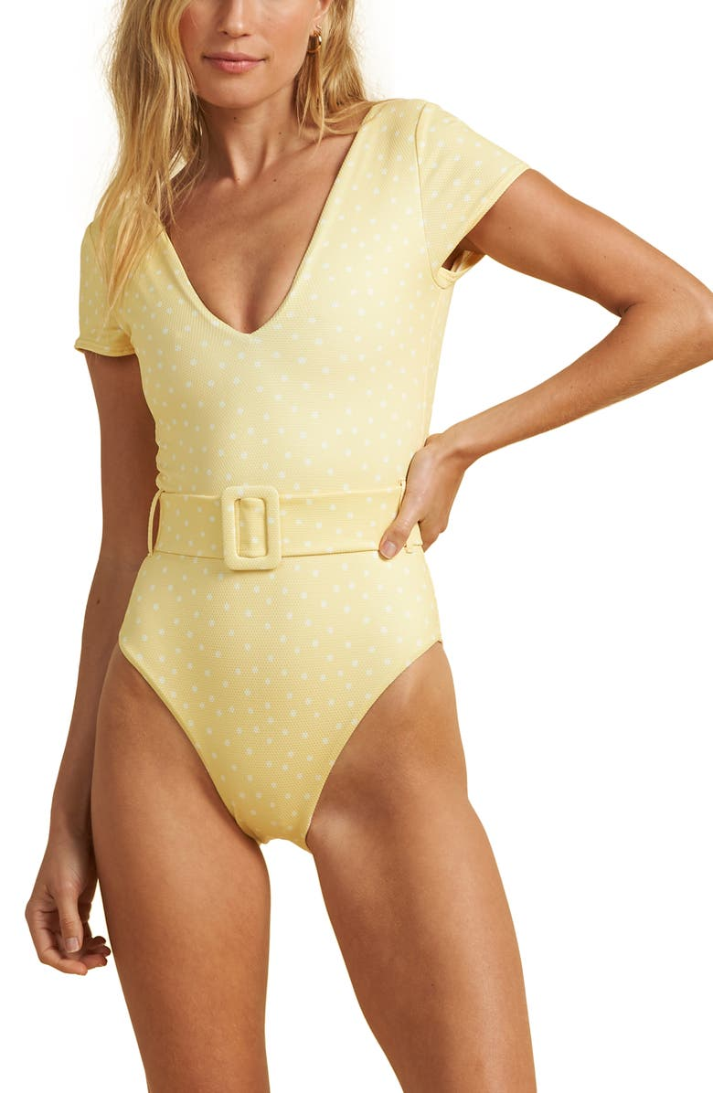 BILLABONG x The Salty Blonde Sundipped Cap Sleeve One-Piece Swimsuit, Main, color, PINA COLADA