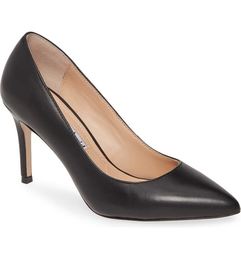 CHARLES DAVID Vibe Pointed Toe Pump, Main, color, BLACK LEATHER