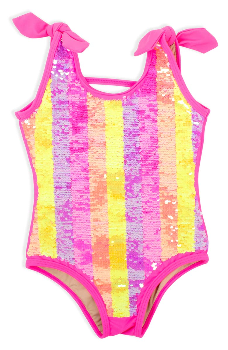 SHADE CRITTERS Flip Sequin Stripe One-Piece Swimsuit, Main, color, 650