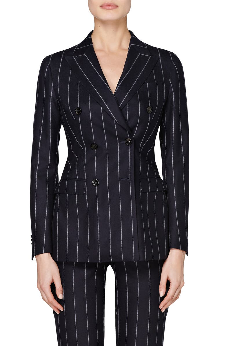 SUISTUDIO Cameron Pinstripe Double Breasted Wool Suit Jacket, Main, color, 405
