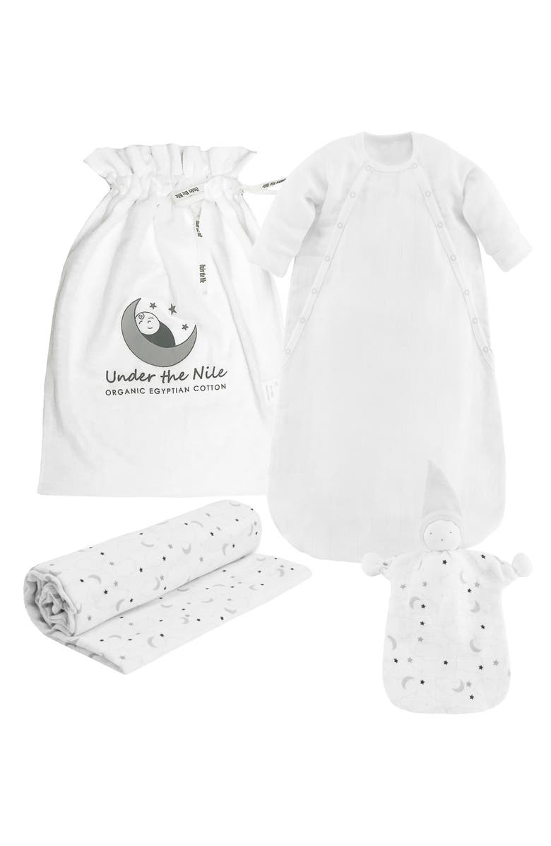 UNDER THE NILE 3-Piece Organic Egyptian Cotton Muslin Starry Gift Set, Main, color, 020