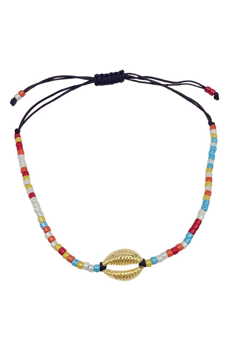 ADORNIA Cowrie Shell Adjustable Bracelet, Main, color, YELLOW