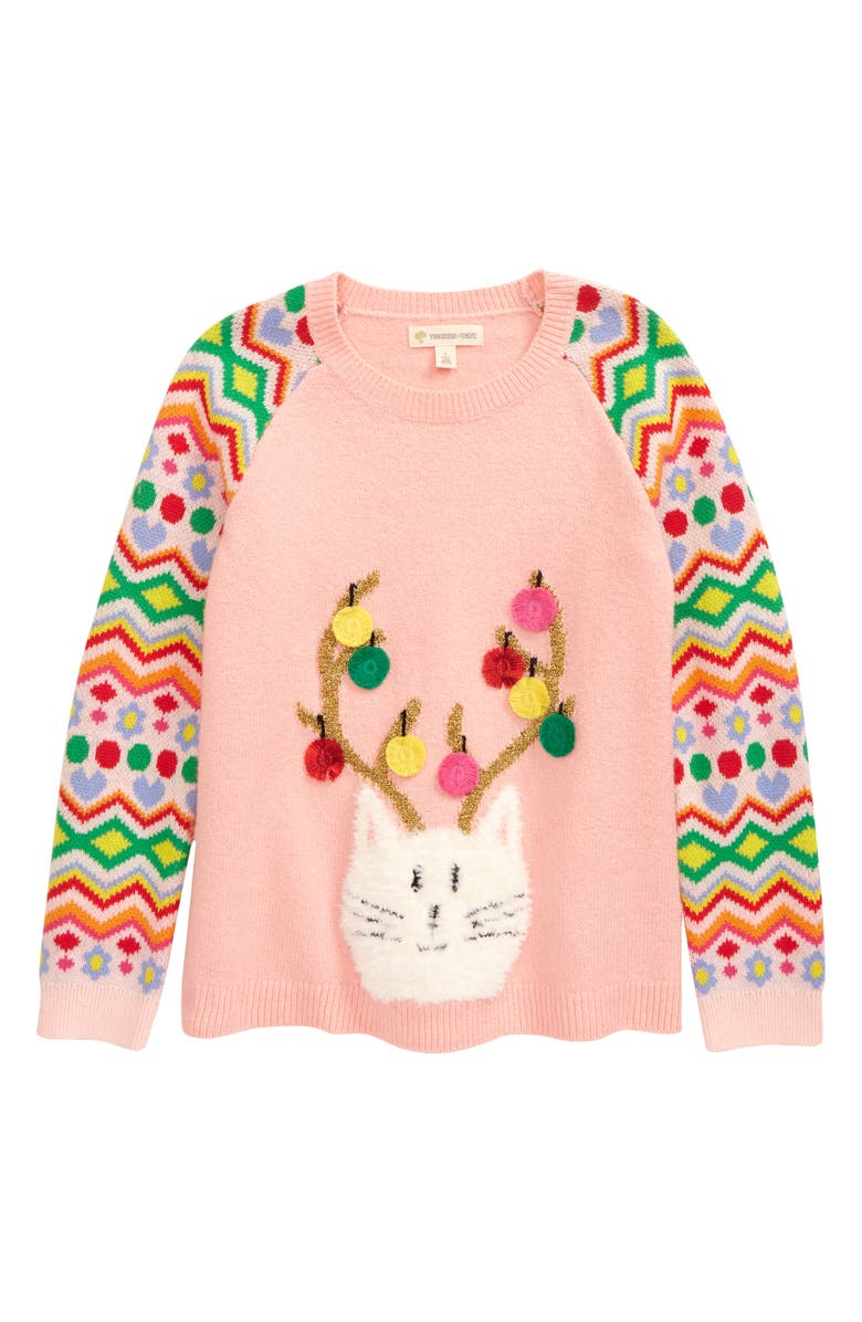 TUCKER + TATE Kids' Icon Sweater, Main, color, PINK ENGLISH REINDEER CAT