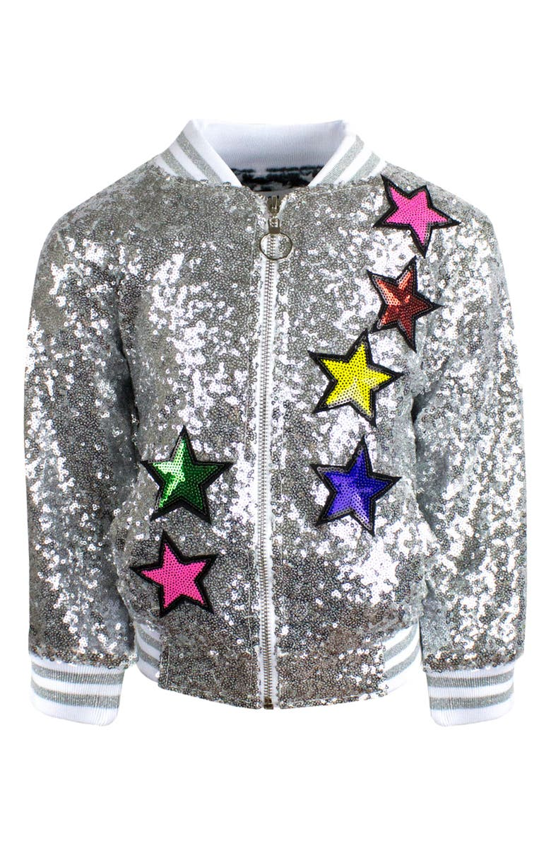 LOLA & THE BOYS Unicorn Sequin Bomber Jacket, Main, color, SILVER