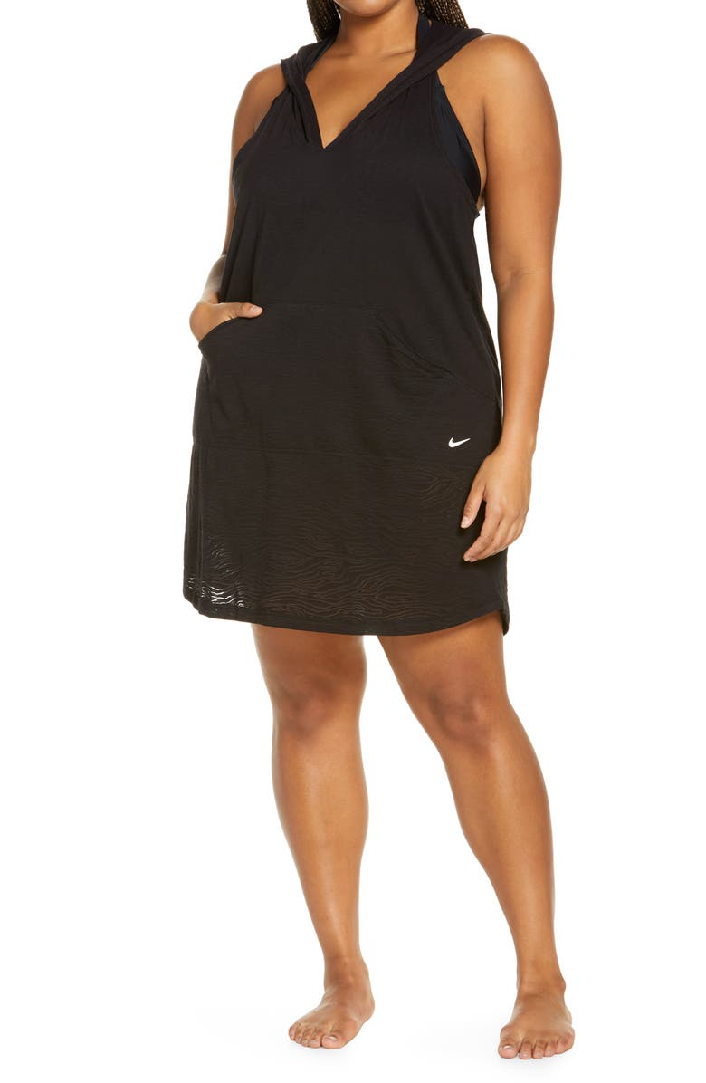 NIKE Essential Hooded Cover-Up Dress, Main, color, BLACK
