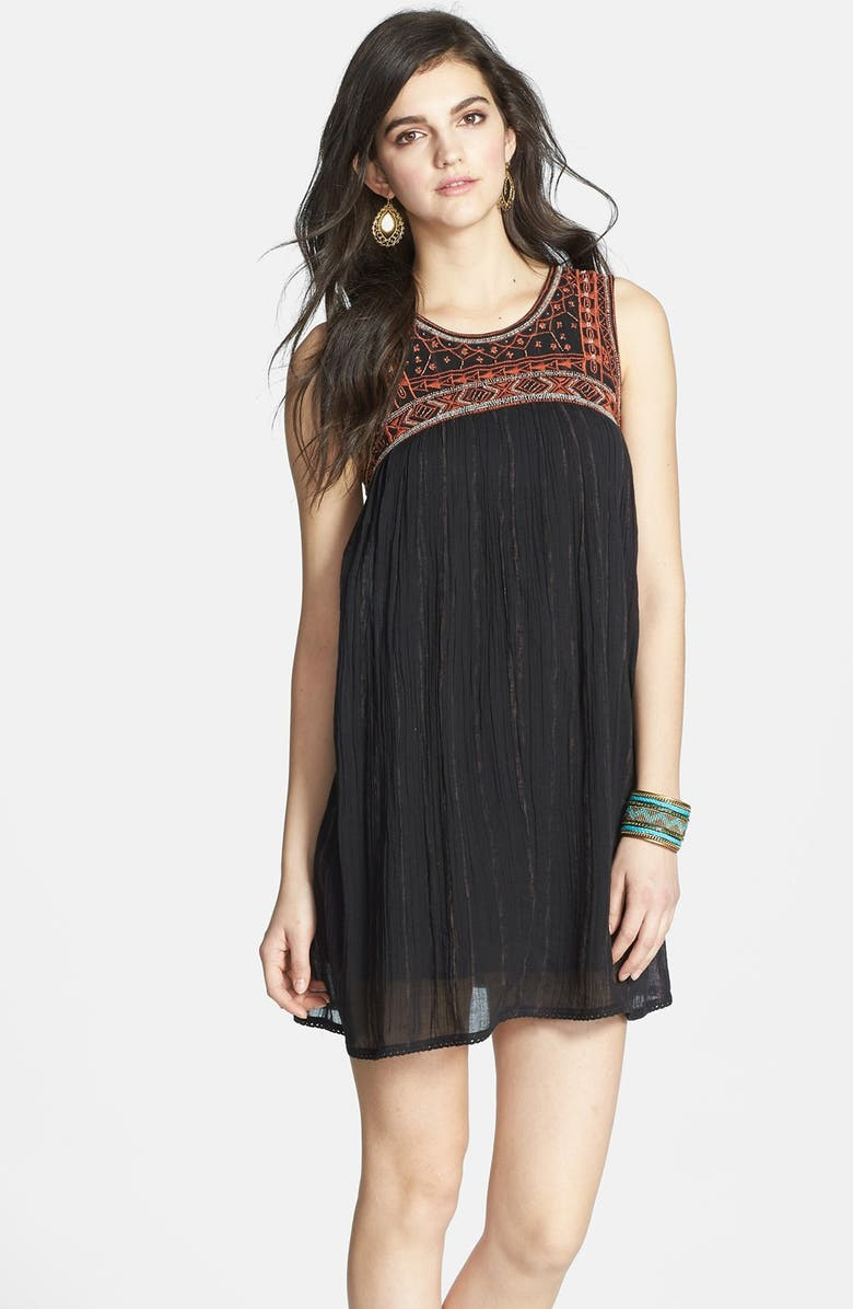 URBAN OUTFITTERS Free People Embroidered Bib Cotton Shift Dress, Main, color, 001