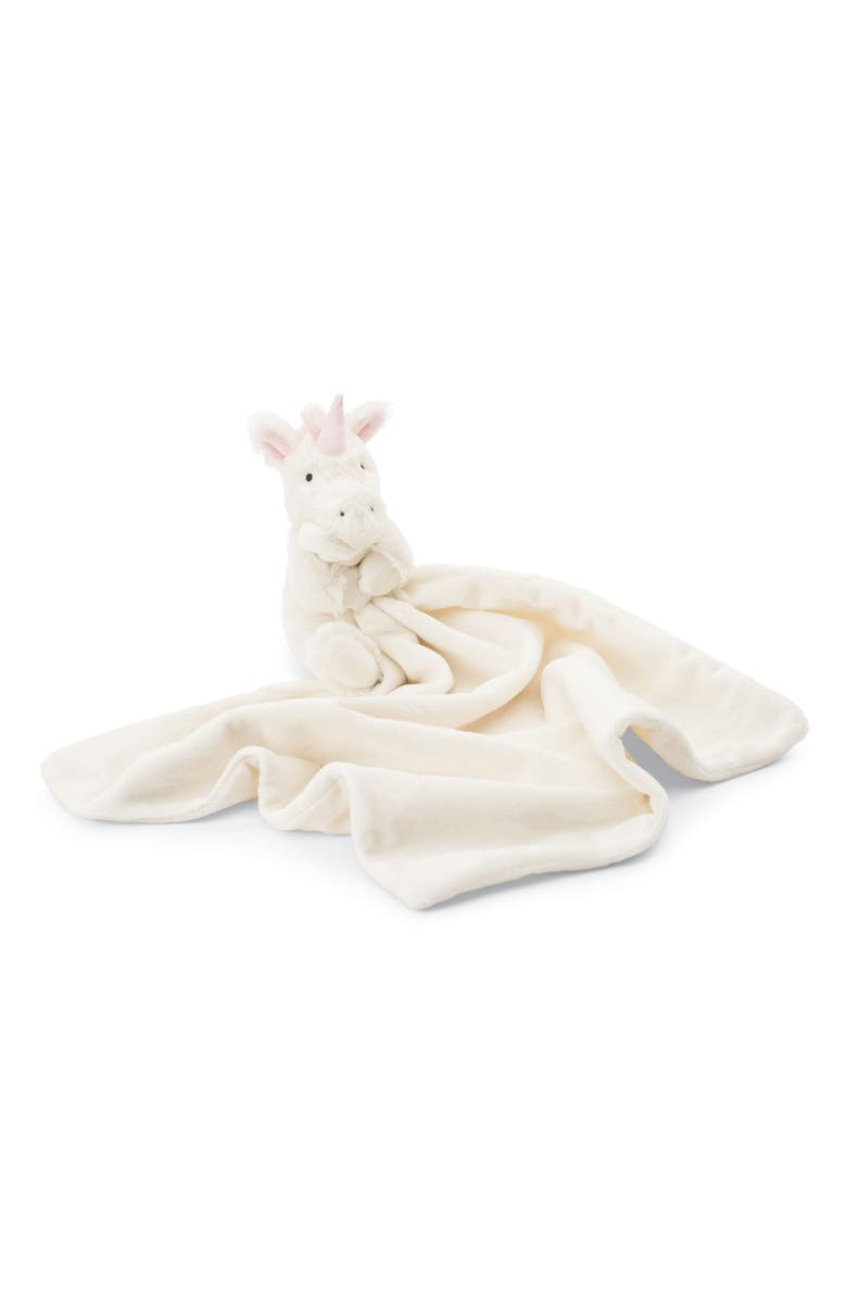 JELLYCAT Bashful Unicorn Soother Blanket, Main, color, WHITE