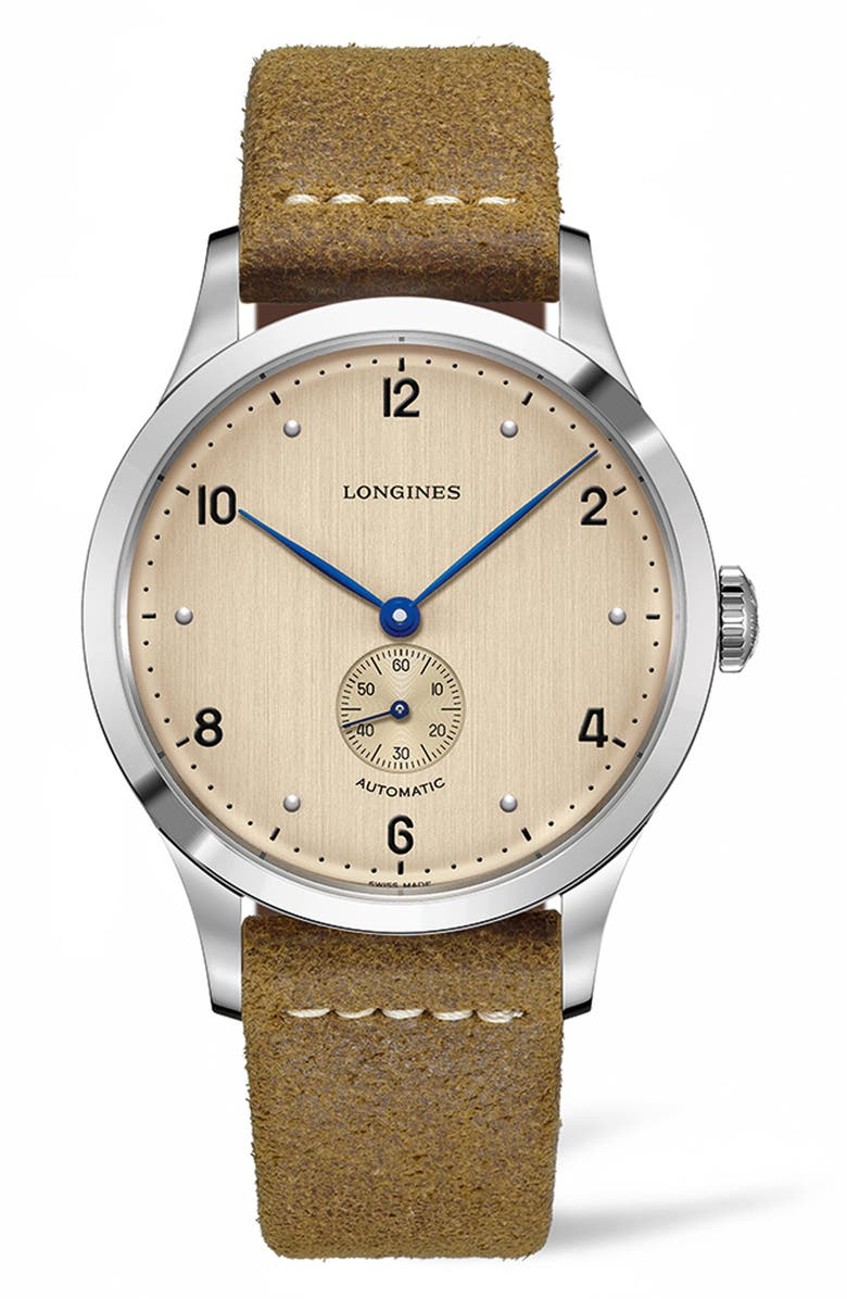 LONGINES Heritage 1945 Leather Strap Watch, 40mm, Main, color, BROWN/ COPPER/ SILVER