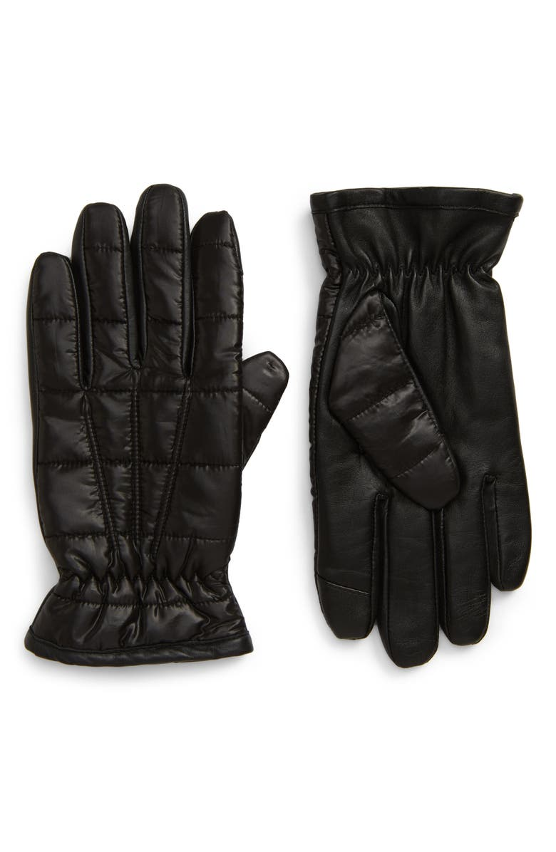 NORDSTROM Men's Shop Touchscreen Puffer Gloves, Main, color, 001
