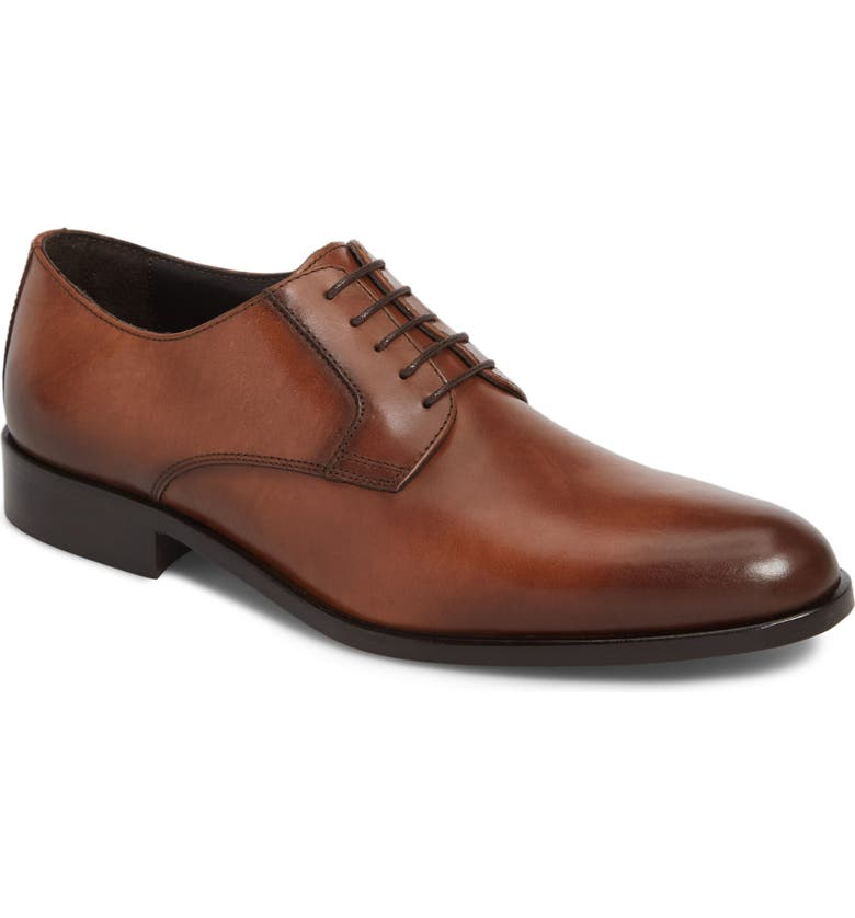 TO BOOT NEW YORK Ivins Plain Toe Derby, Main, color, BROWN LEATHER