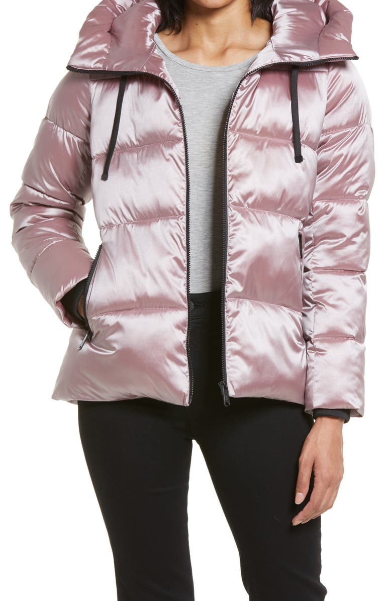 SAM EDELMAN Iridescent Water Repellent Hooded Puffer Jacket, Main, color, ROSE