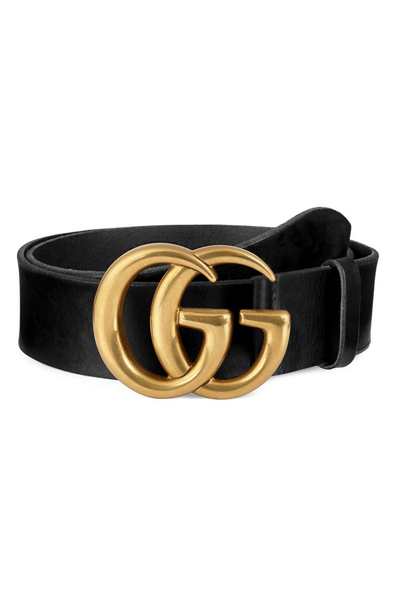 GUCCI Running Gold Leather Belt, Main, color, 001