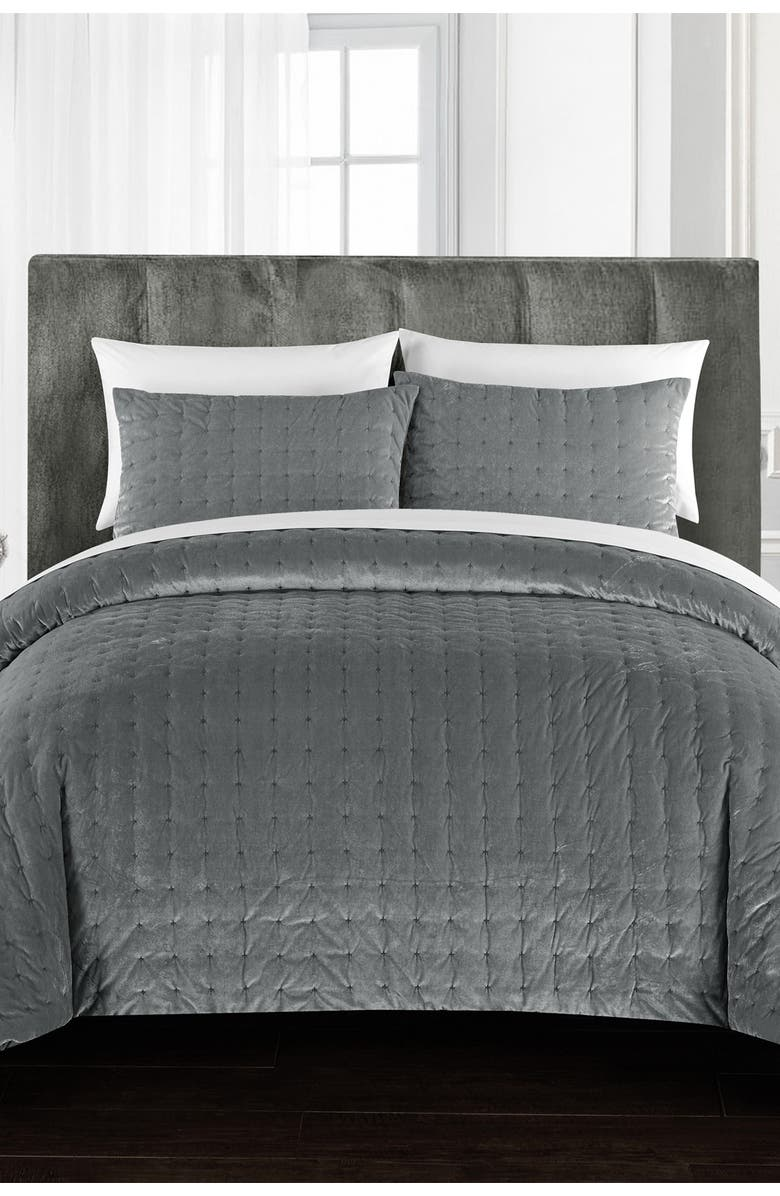 CHIC Chaya Rich Quilted Hand-Stitched Velvet King Comforter Set - Grey, Main, color, GREY