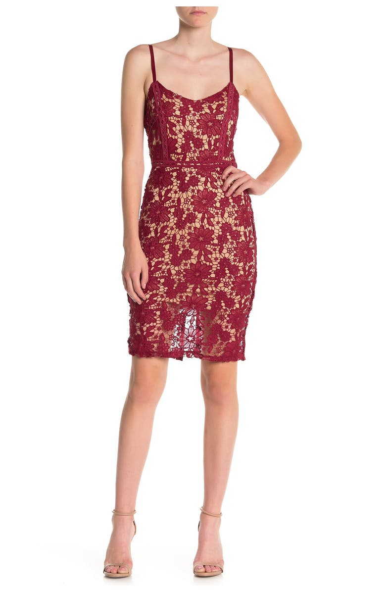 MAX AND ASH Lace Bodycon Tank Dress, Main, color, RED