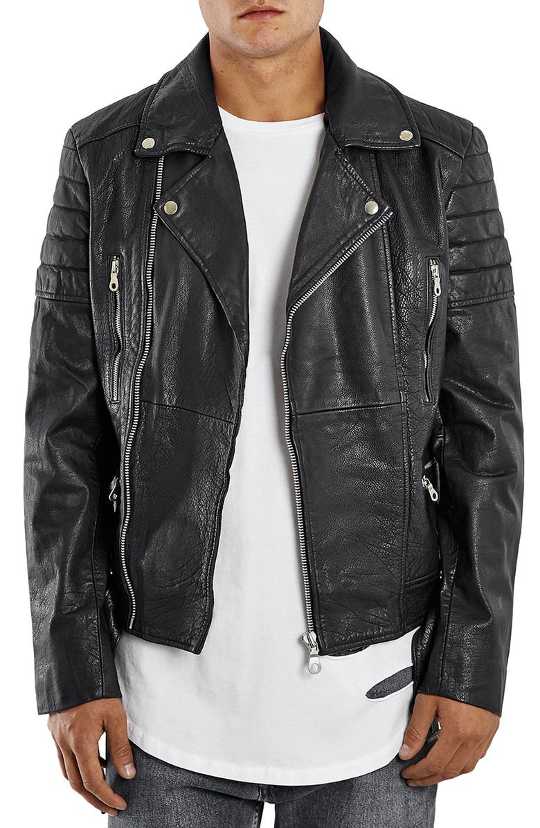 TOPMAN Washed Leather Moto Jacket with Waist Belt, Main, color, 001