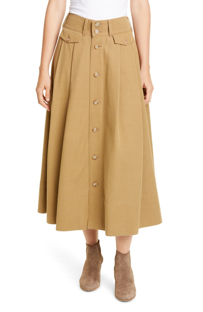 POLO RALPH LAUREN Twill Midi Skirt, Main, color, 200