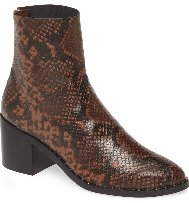TREASURE & BOND Farrah Studded Bootie, Main, color, CHOCOLATE SNAKE FAUX LEATHER