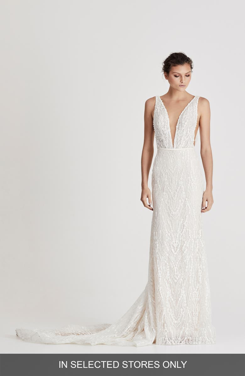 CHOSEN BY ONE DAY Darling Beaded Column Wedding Dress, Main, color, 900