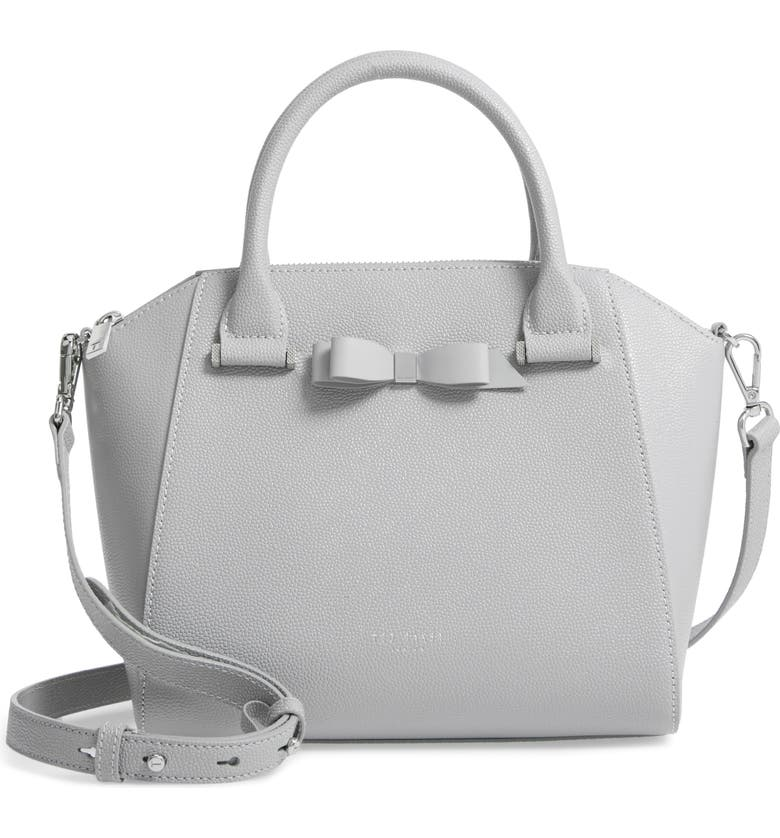TED BAKER LONDON Janne Bow Leather Tote, Main, color, GREY