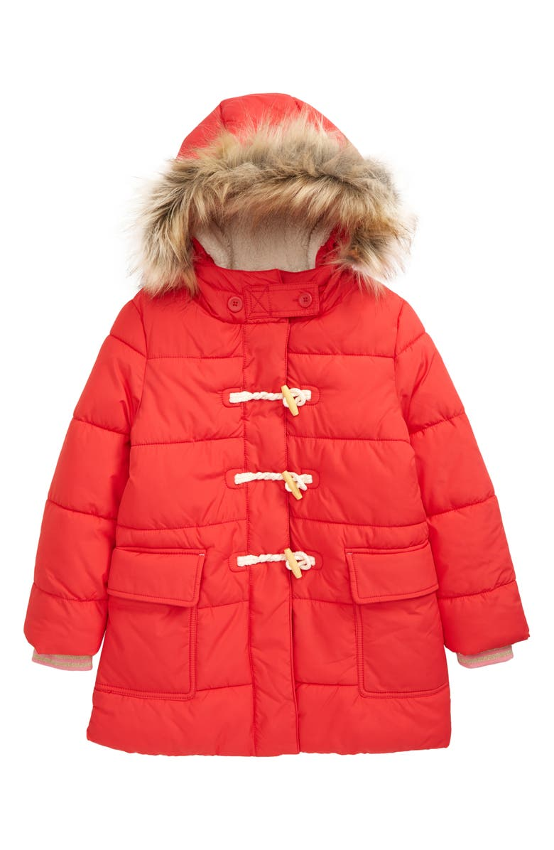 MINI BODEN Kids' Quilted Puffer Coat with Faux Fur Trim, Main, color, 614