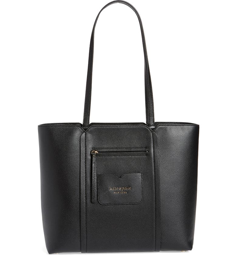 KATE SPADE NEW YORK large florence leather tote, Main, color, BLACK