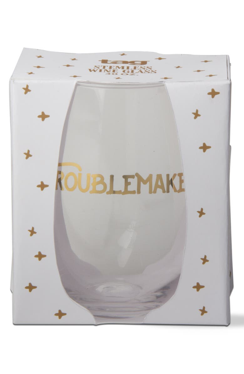 TAG Trouble Maker Full Bottle Stemless Wine Glass, Main, color, GOLD