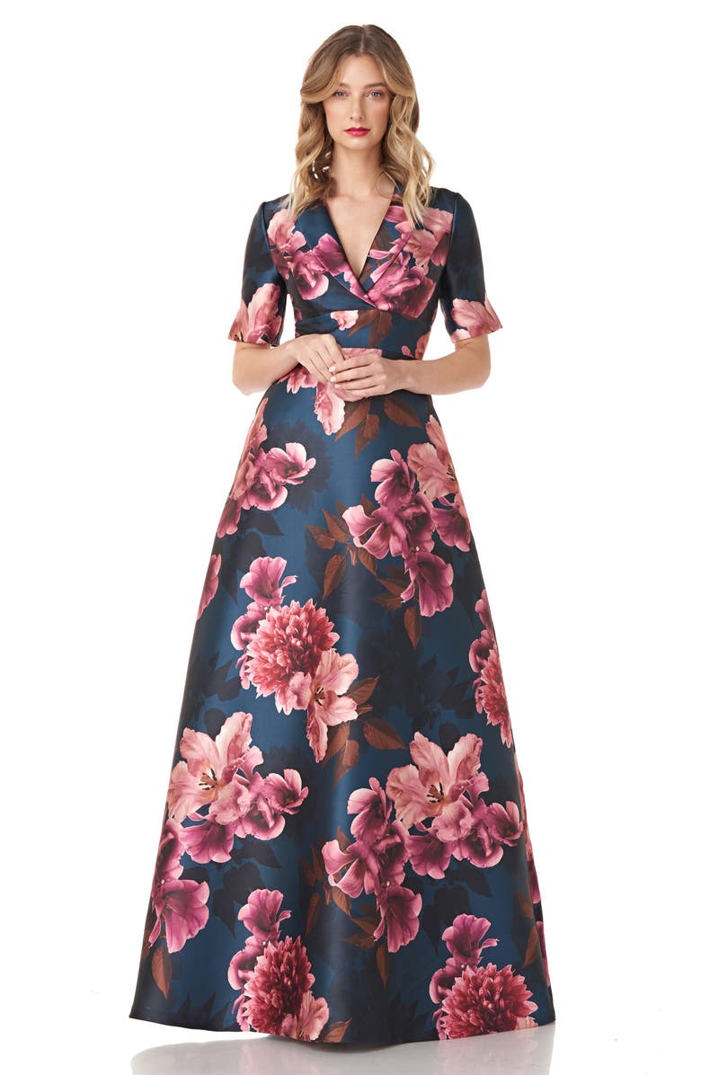 KAY UNGER Jessica Floral Mikado Gown, Main, color, 496