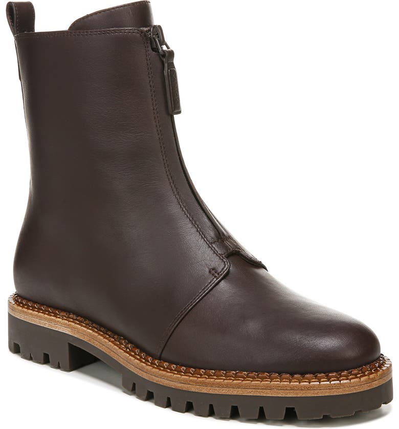VINCE Cabria Water Resistant Front Zip Boot, Main, color, CHOCOLATE