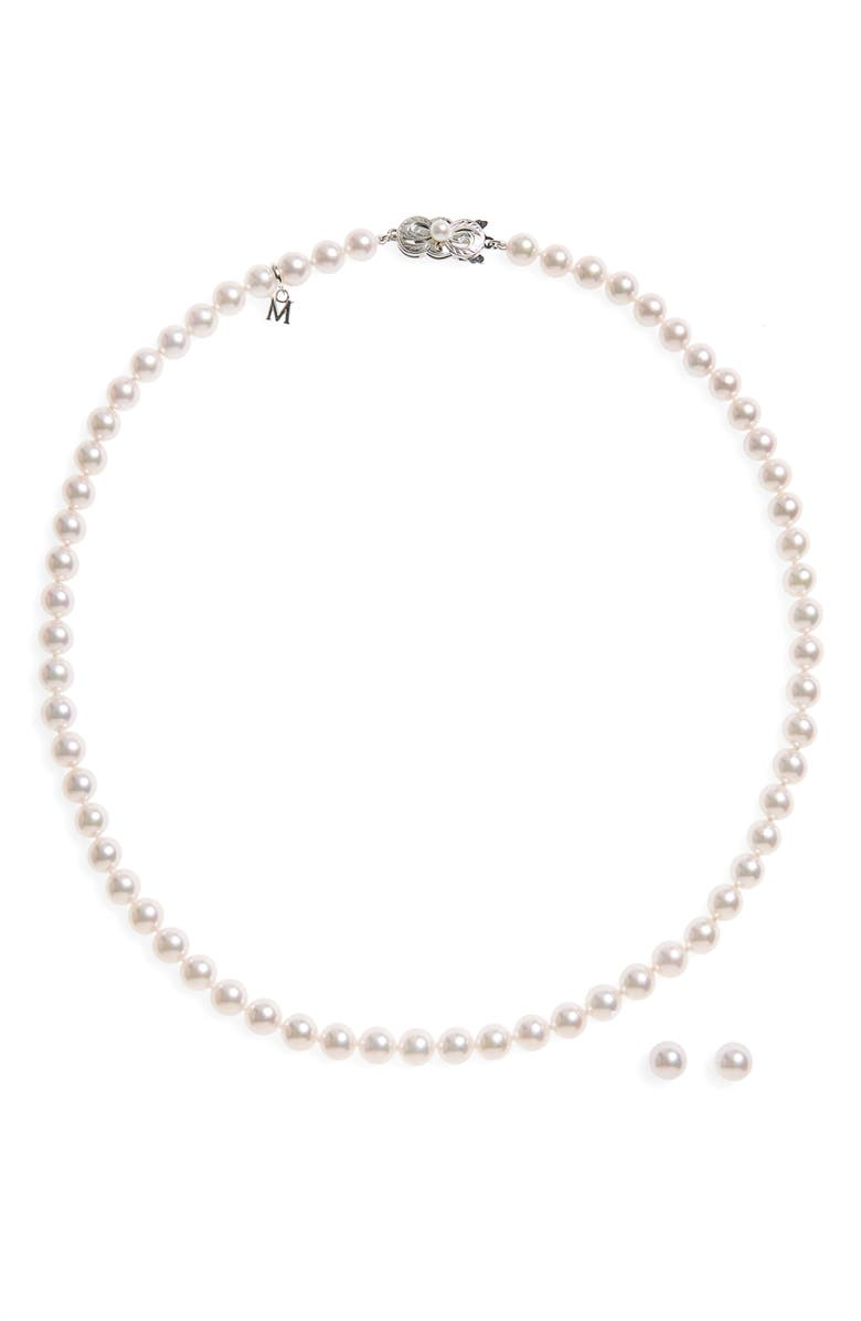 MIKIMOTO Cultured Pearl Necklace & Stud Earring Set, Main, color, WHITE GOLD