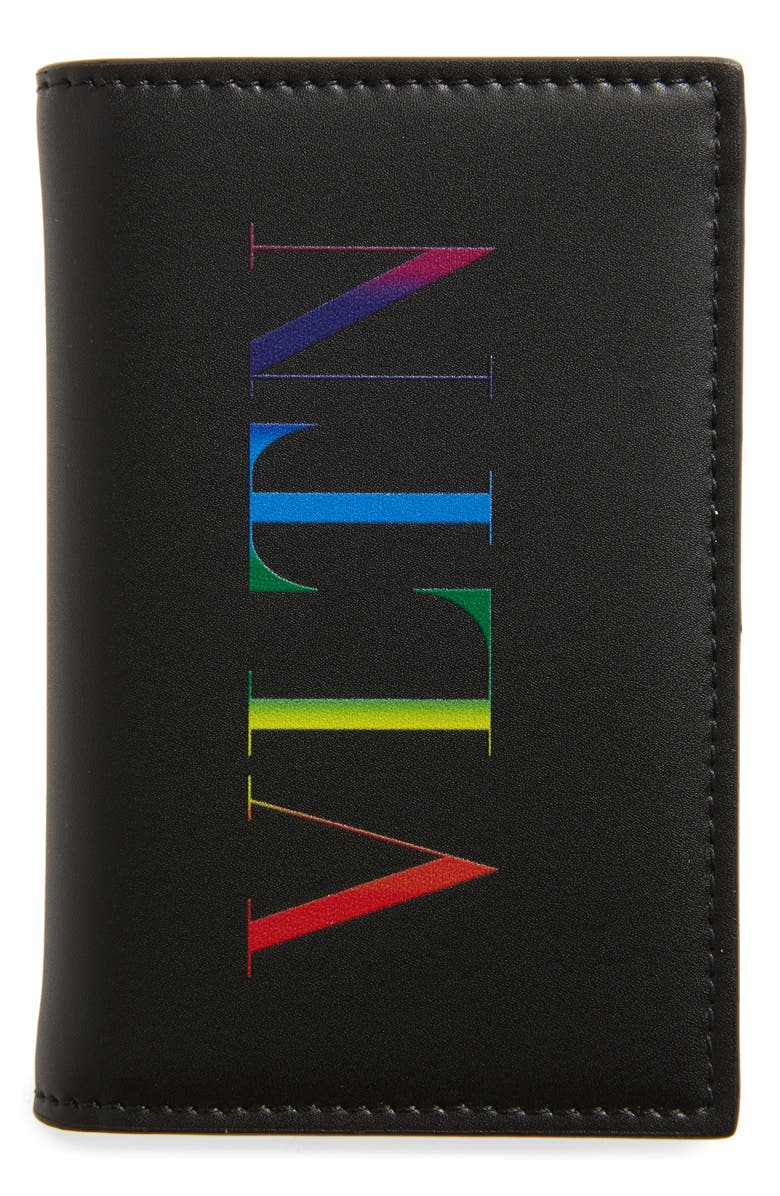 VALENTINO GARAVANI VLTN Vertical Leather Card Case, Main, color, 001