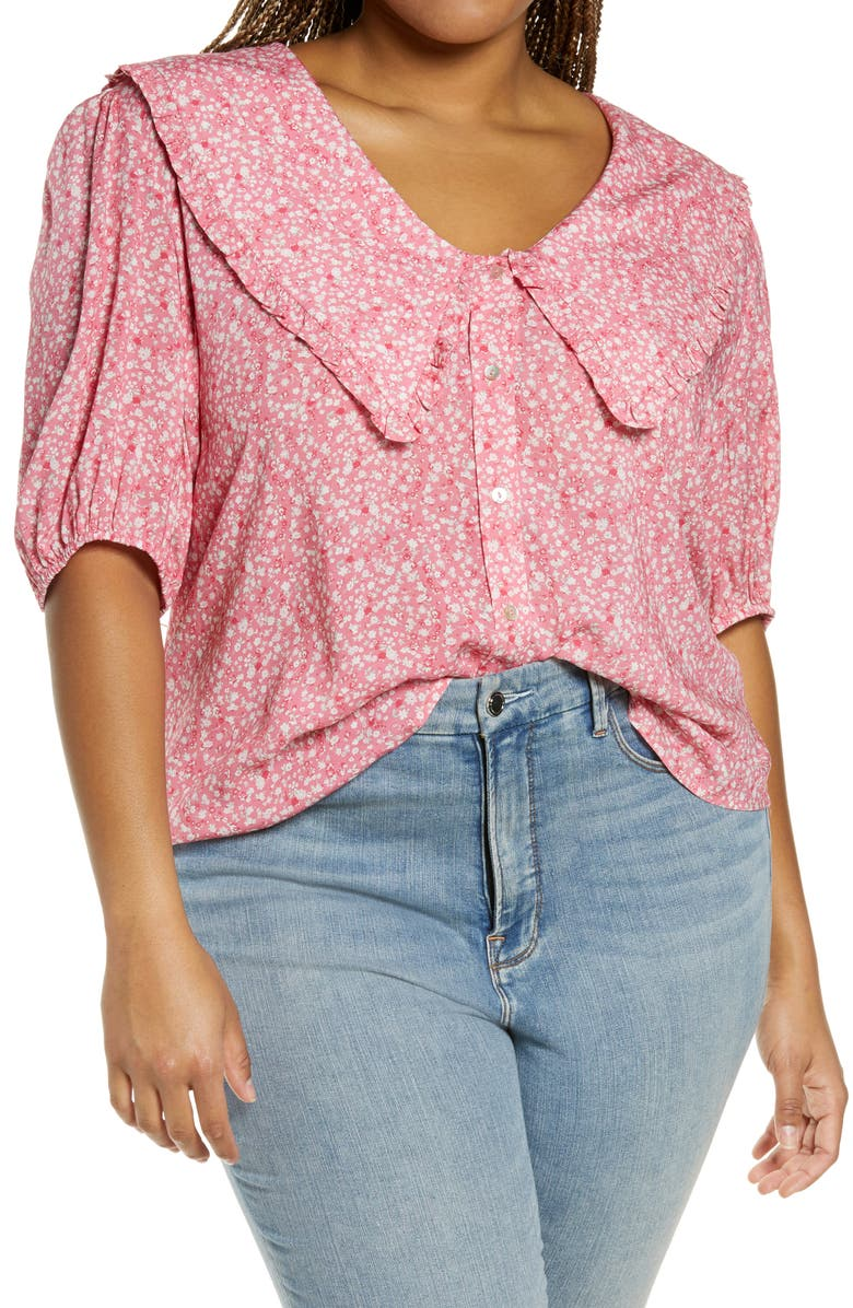 WAYF Amie Floral Oversize Collar Top, Main, color, CHERISE DITSY FLORAL