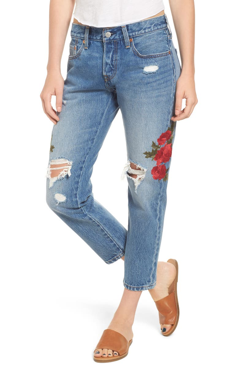 LEVI'S<SUP>®</SUP> 501 Floral Embroidered Crop Taper Jeans, Main, color, CUSTOM BLUES