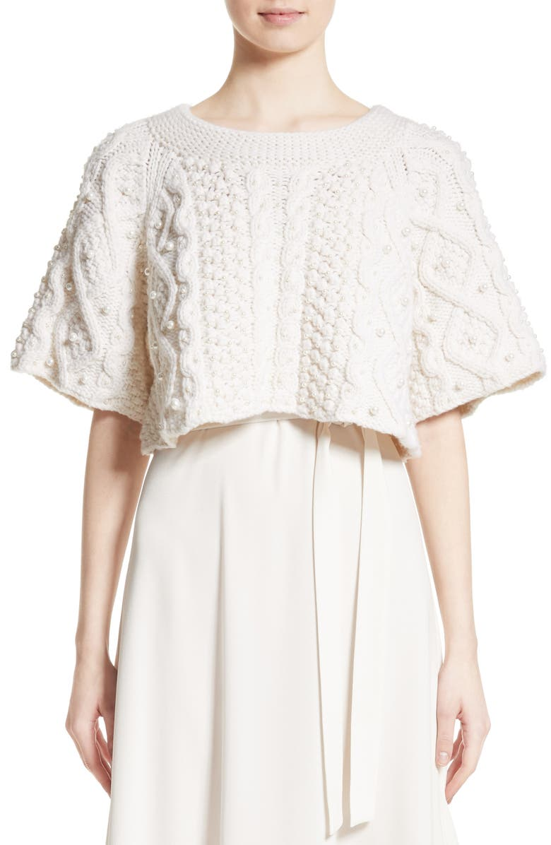 CO Cable Knit Wool & Cashmere Crop Sweater, Main, color, IVORY