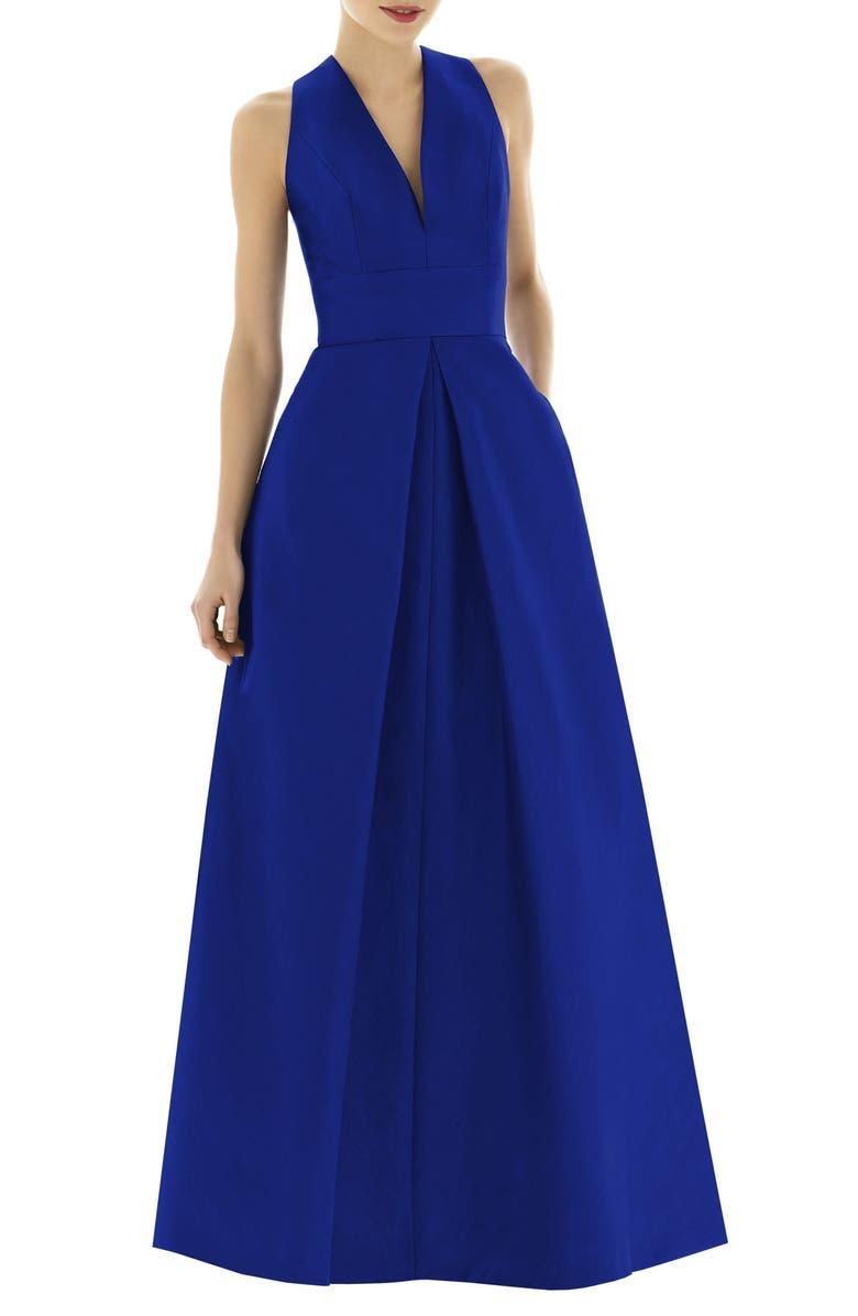 ALFRED SUNG Dupioni Pleat A-Line Gown, Main, color, ROYAL