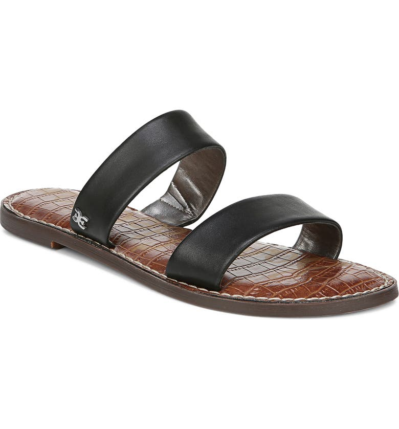 SAM EDELMAN Gala Two Strap Slide Sandal, Main, color, BLACK LEATHER