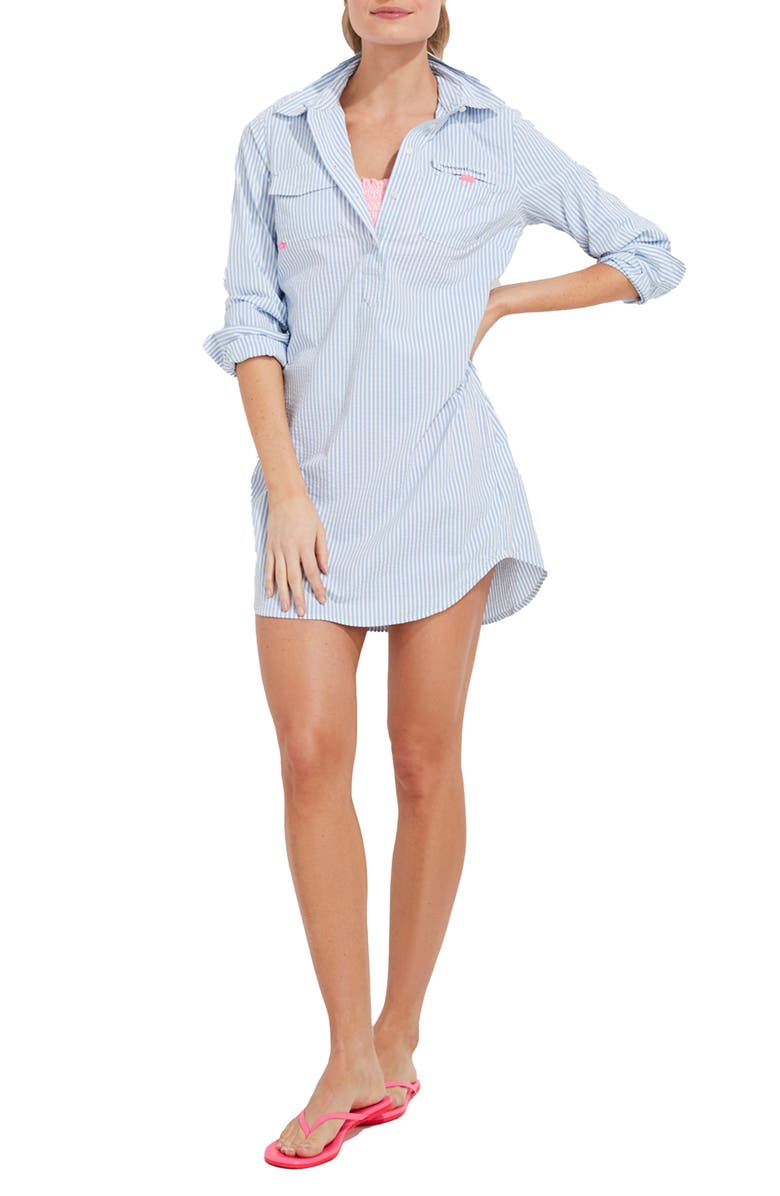 VINEYARD VINES Harbor Seersucker Long Sleeve Cover-Up Shirtdress, Main, color, CORNFLOWER/ WHITE CAP