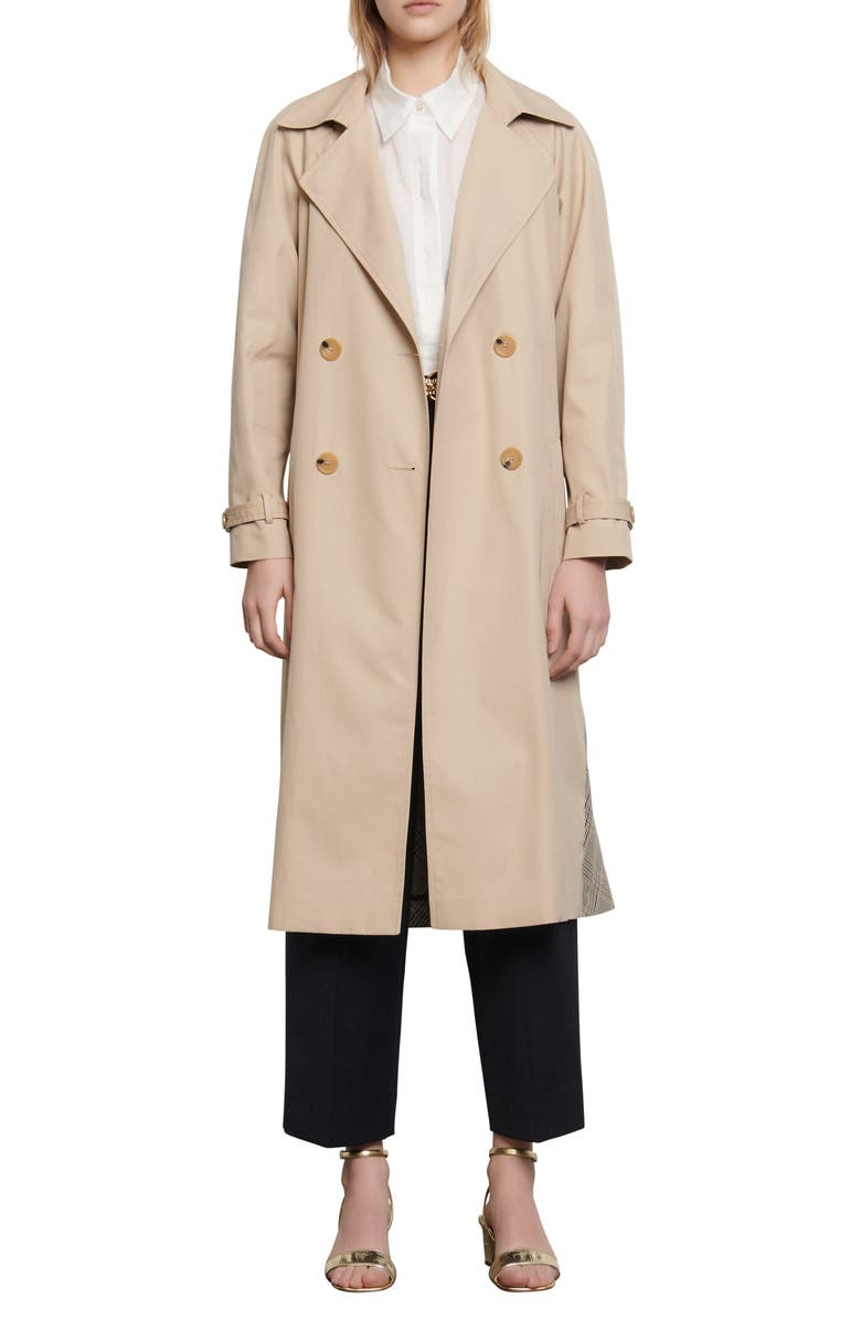 SANDRO Victory Plaid Back Cotton Trench Coat, Main, color, 250