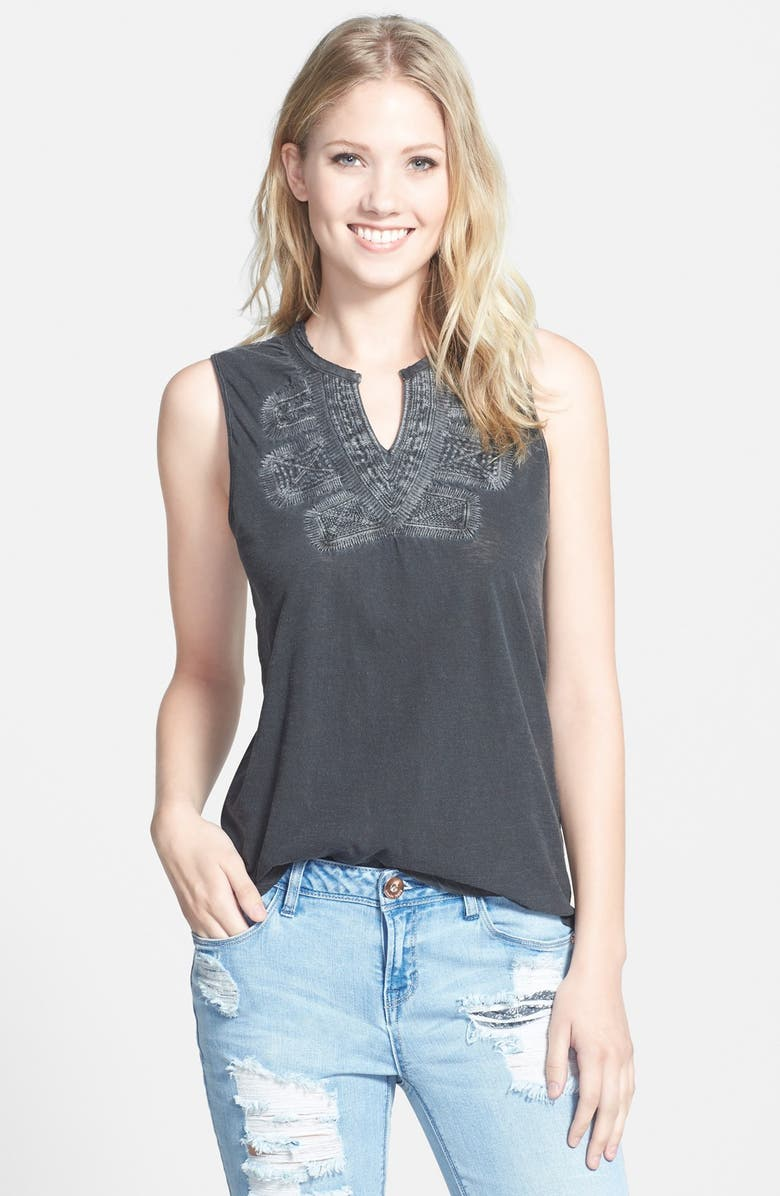 LUCKY BRAND Embroidered Bib Tank, Main, color, LUCKY BLACK