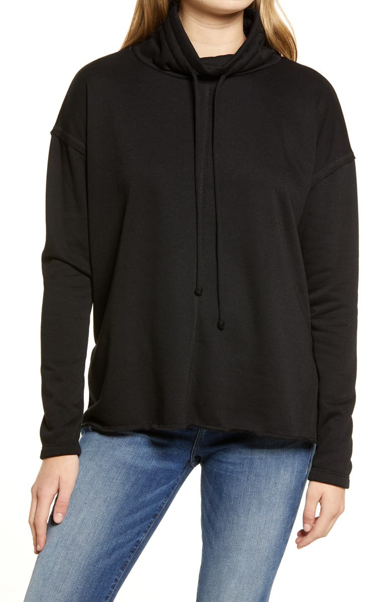 TREASURE & BOND Cowl Tie Neck Cotton Blend Sweatshirt, Main, color, BLACK