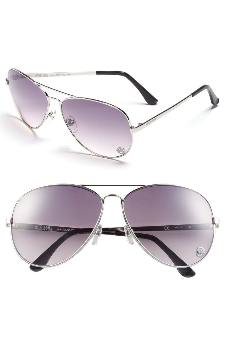 MICHAEL MICHAEL KORS 'Lola' 63mm Aviator Sunglasses, Main, color, 040