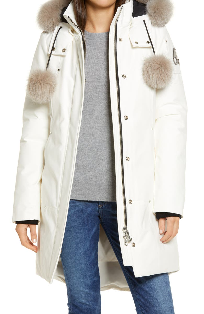 MOOSE KNUCKLES 'Stirling' Down Parka with Genuine Fox Fur Trim, Main, color, MILKY WAY / STONED FOX FUR