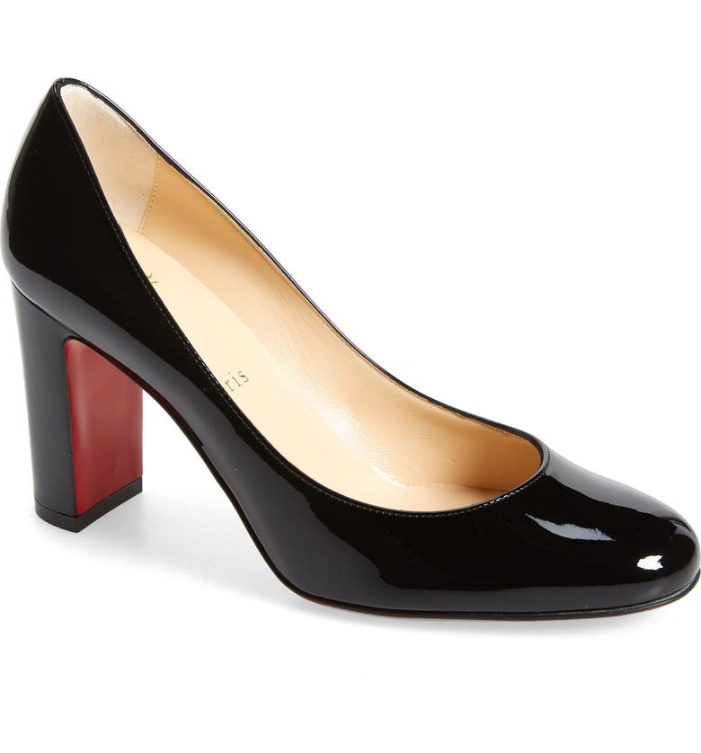 CHRISTIAN LOUBOUTIN Lady Gena Round Toe Pump, Main, color, BLACK/ BLACK