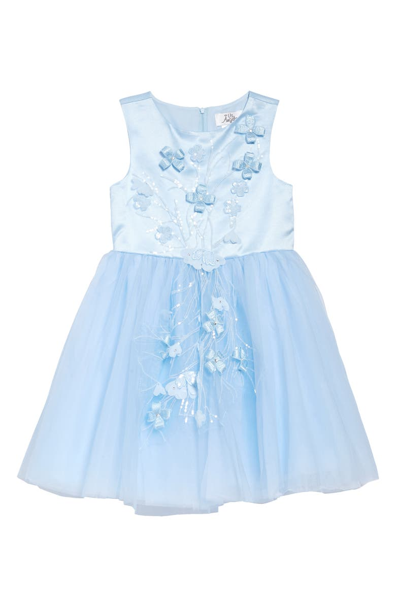 US ANGELS Embroidered Appliqué Sleeveless Dress, Main, color, BLUE