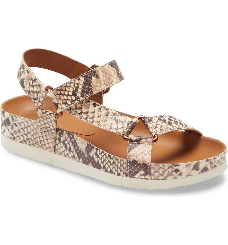 BAND OF GYPSIES Newport Sandal, Main, color, BEIGE SNAKE PRINT LEATHER
