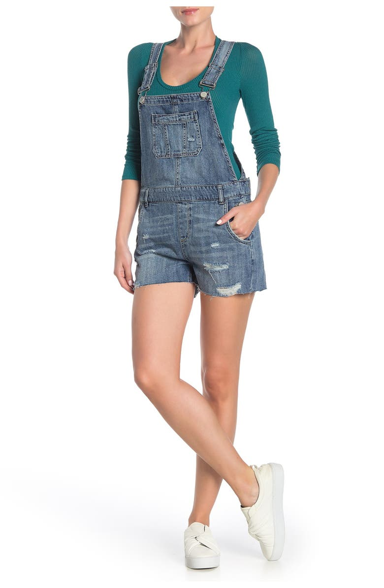 BLANKNYC Ripped Jean Short Overalls, Main, color, FLING CLEANING