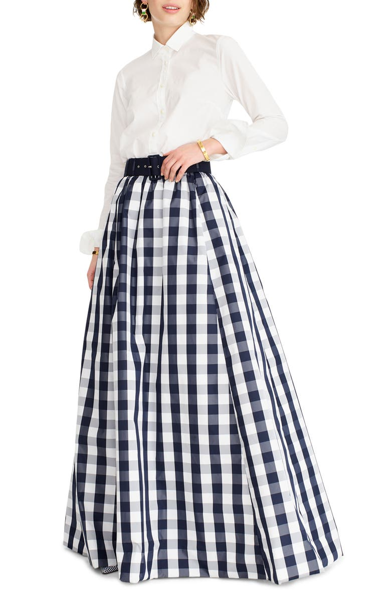 J.CREW Gingham Belted Taffeta Ball Skirt, Main, color, 420
