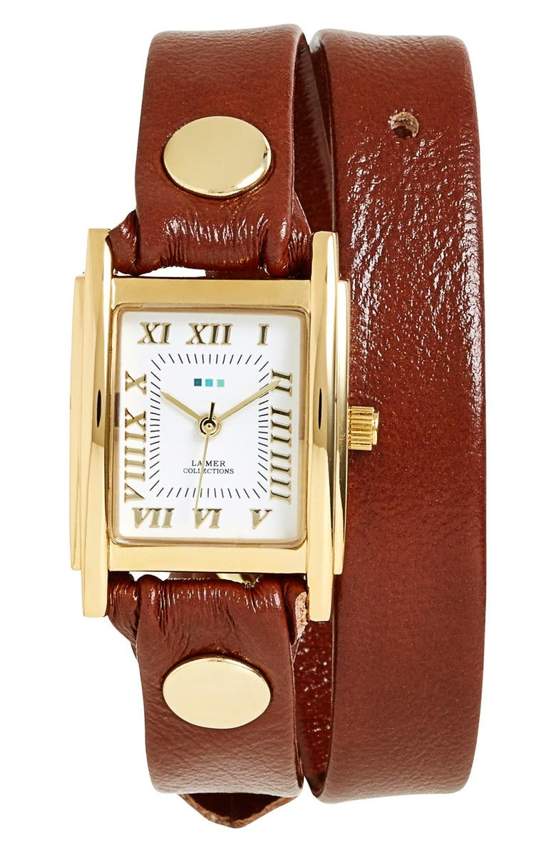 LA MER COLLECTIONS Leather Wrap Watch, 19mm, Main, color, 200
