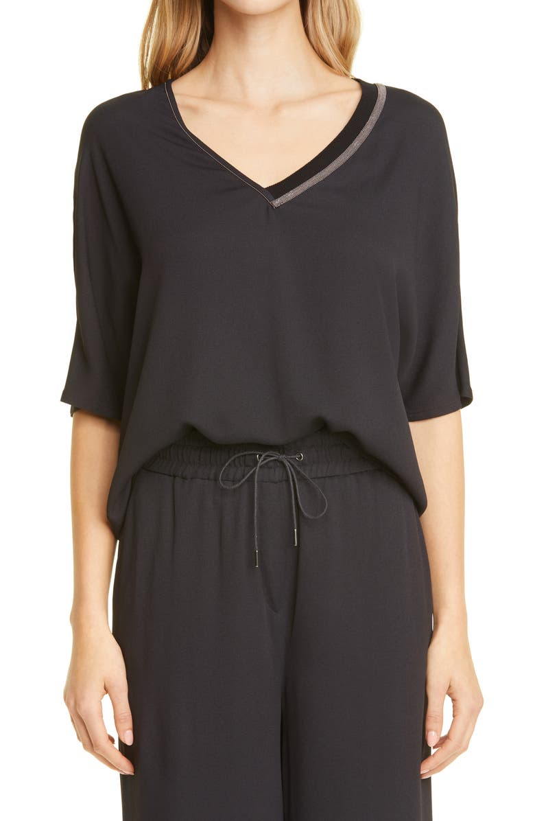 FABIANA FILIPPI Brilliant Detail Blouse, Main, color, Black